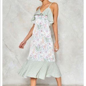 NWT Nasty Gal floral ruffle midi dress
